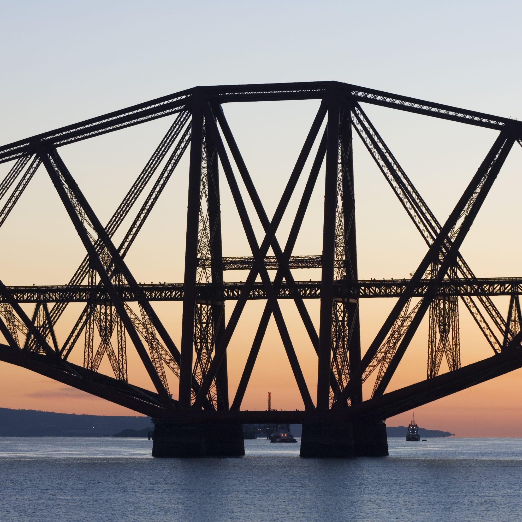 The Forth Rail Bridge at dawn