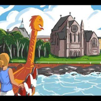 Cartoon of a Viking ship approaching a church