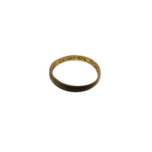 A gold ring with an inscription