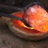 Hot metal in a fire