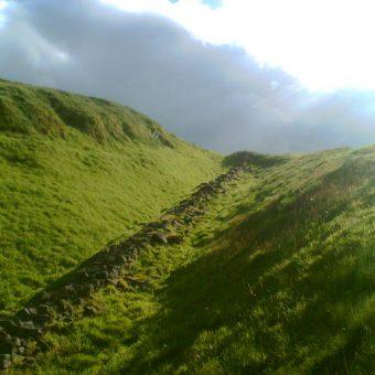 Photograph of a portion of the Antonine Wall near Bar Hill Roman Fort, Twechar
